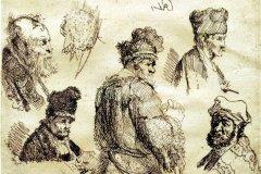 Estudio de la cabeza del hombre (1630) Rembrandt van Rijn (1606-1669) Grabado