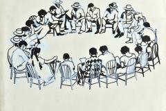 """Boceto para cartel 25 Aniversario DIVEDCO (1974) Rafael Tufiño Dibujo a tinta 14 ¼"""" x 18"""""""