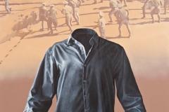 "Camisa negra (2011) Rafael Trelles Óleo y acrílico sobre lienzo 72"" x 48"""