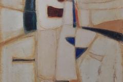 """Composición con mancha multicolor (1981) Luis Hernández Cruz Acrílico, polvo de mármol y pigmentos sobre lienzo 38"""" x 33"""""""