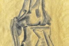 """Desnudo (ca. 1947) Lorenzo Homar Carboncillo sobre papel 20 3/4"""" x 13 1/2"""""""