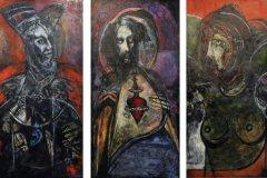 """Tríptico de los Dioses del Caribe (1990-1991) (Changó, Sagrado Corazón de Jesús y Atabéira) Domingo García óleo sobre masonite 108""""x 60"""""""