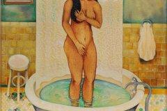 "Venus (1990-2007) Nick Quijano Gouache sobre archés 300 libras y soluvar 30"" x 22"""