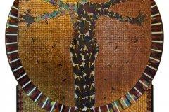 """Virgen africana o Virgen de las Magas (2006) Edward Ferraioli Mosaico en cristal, cristal fundido, acrílico y corcho 78"""" x 86"""""""