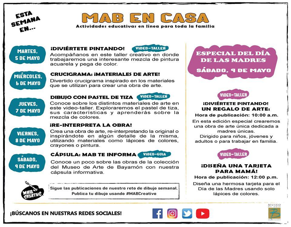 MAB en Casa: Talleres En Línea del 5 al 9 de mayo