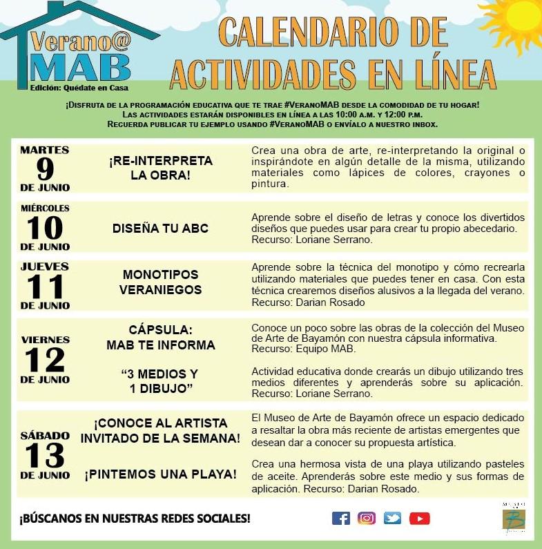 MAB en Casa: Talleres En Línea del 9 al 13 de junio