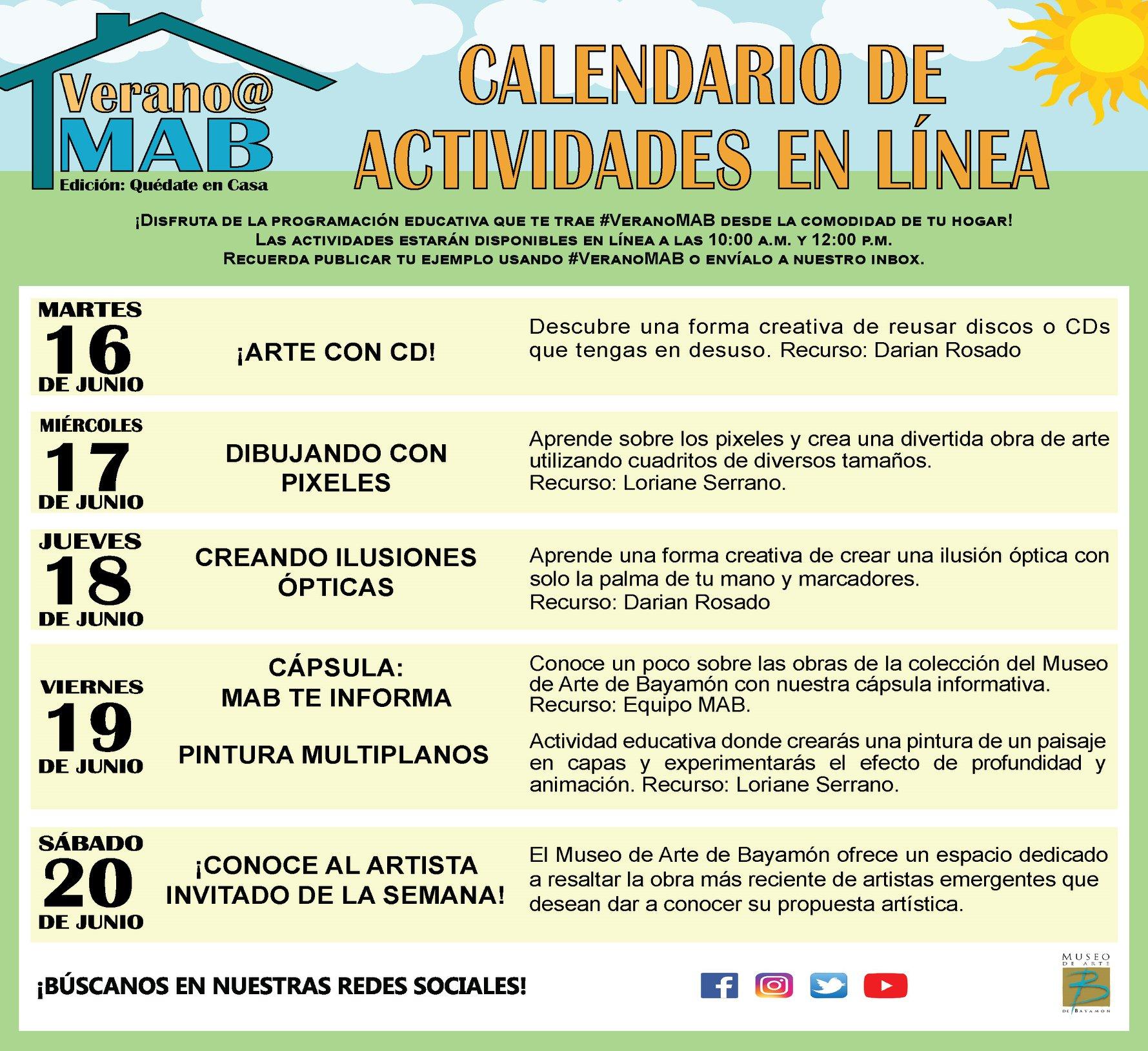 Calendario de Actividades en Linea del 16 al 20 de junio