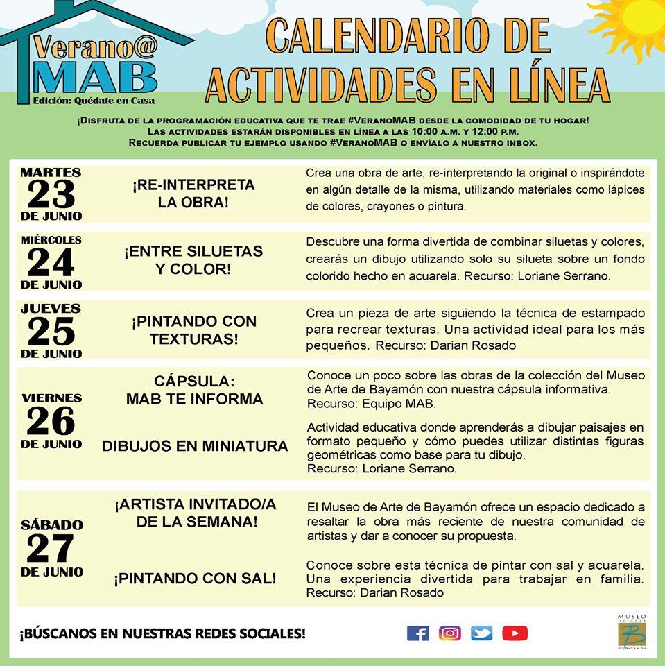 Calendario de Actividades para la semana del 23 al 27 de junio