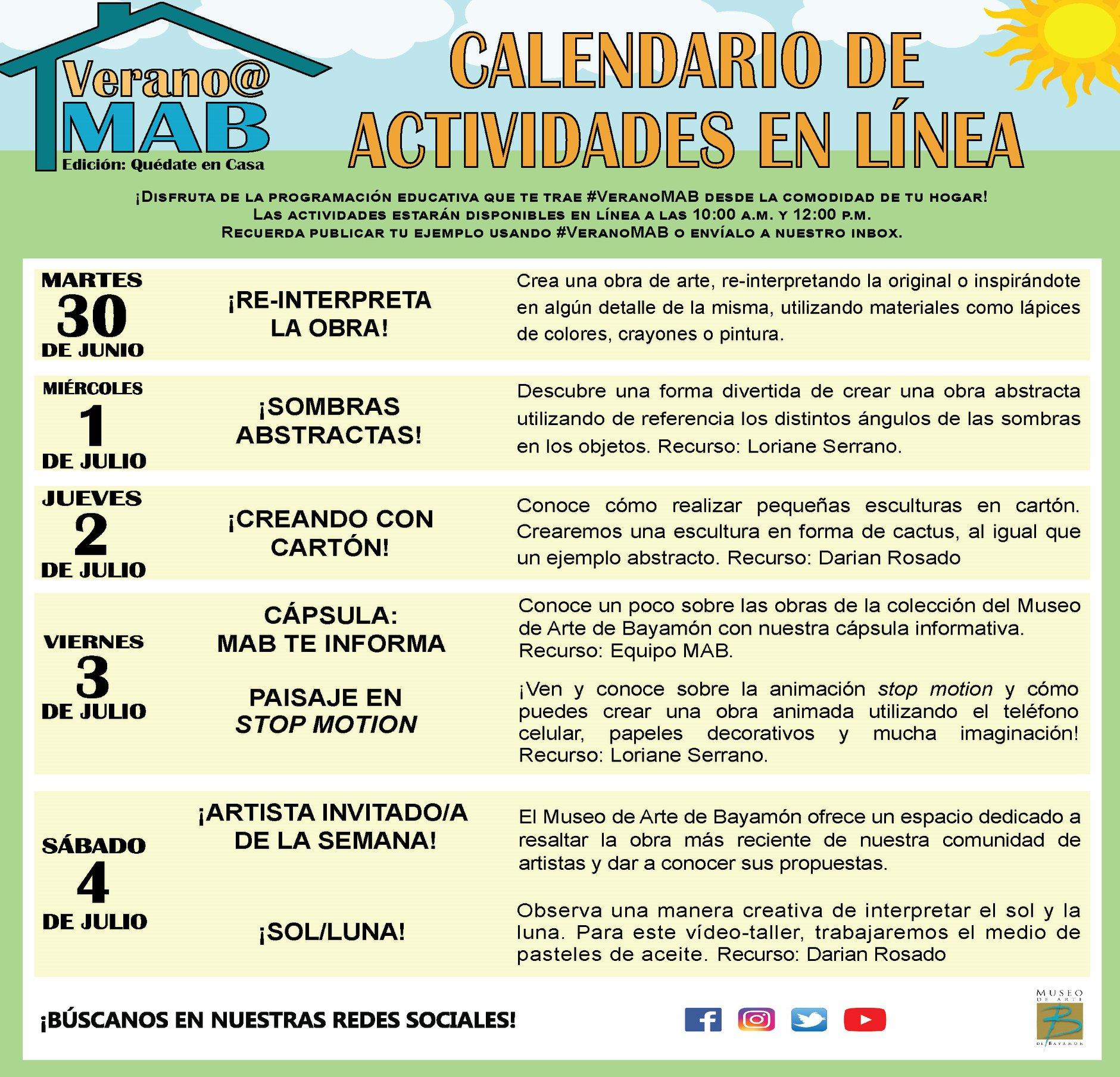 MAB en Casa: Talleres En Línea del 30 de junio al 5 de julio