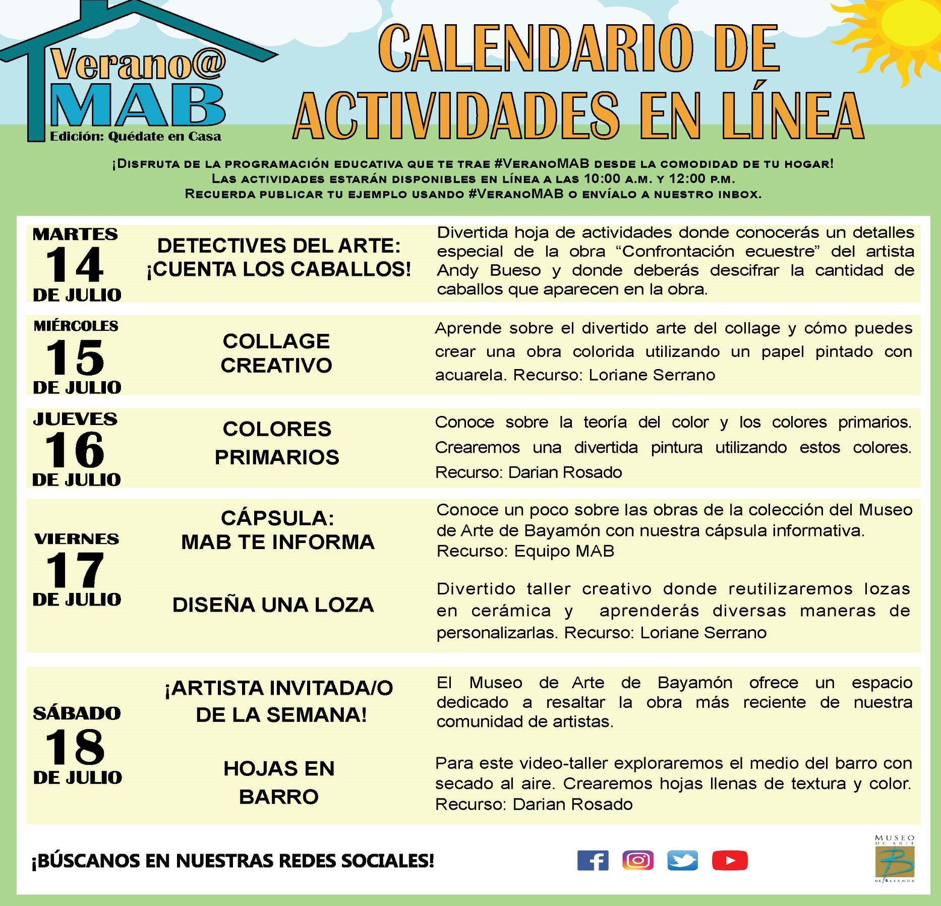 MAB en Casa: Talleres En Línea del 7 de julio al 11 de julio