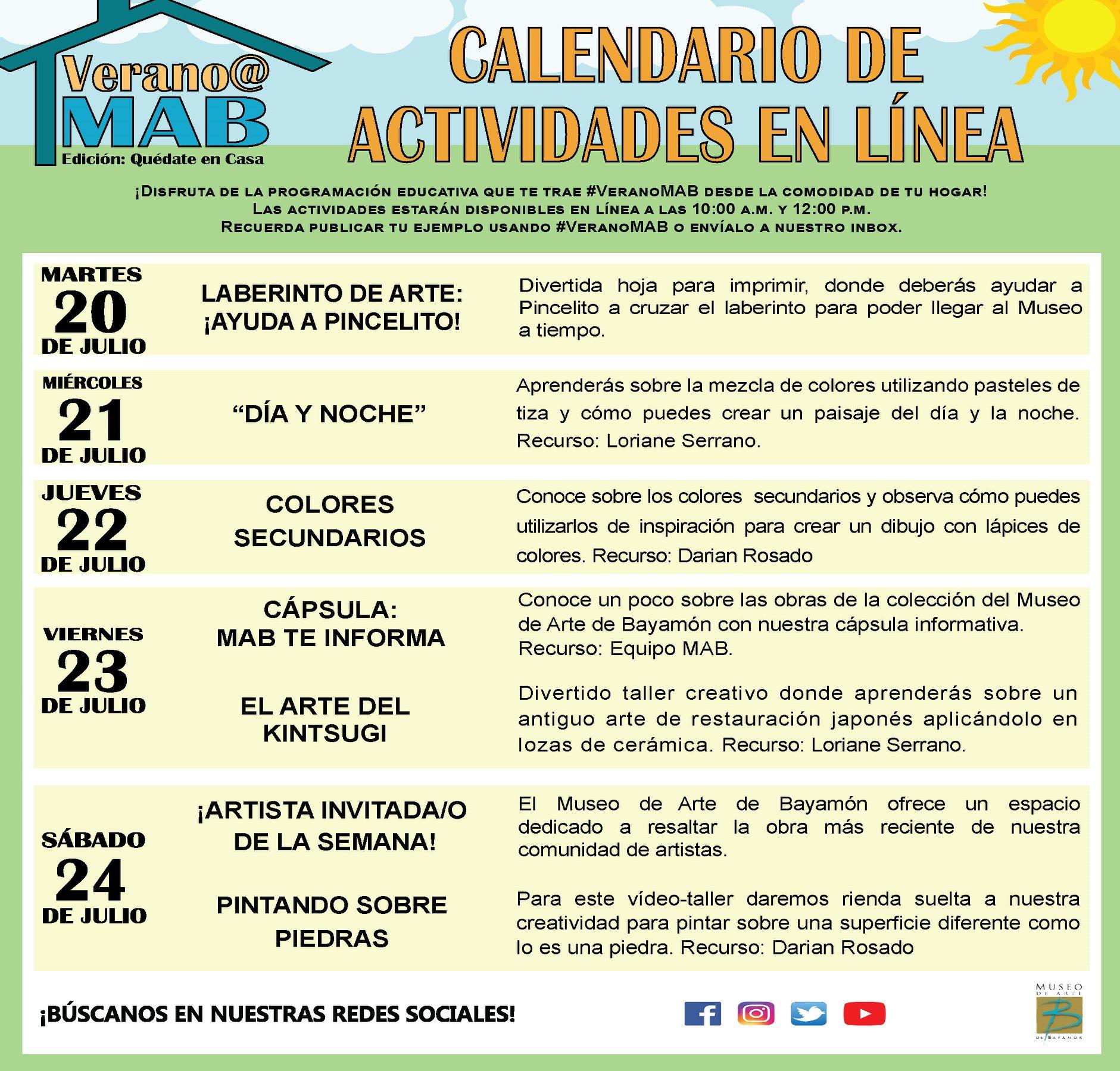 MAB en Casa: Talleres En Línea del 21 de julio al 25 de julio