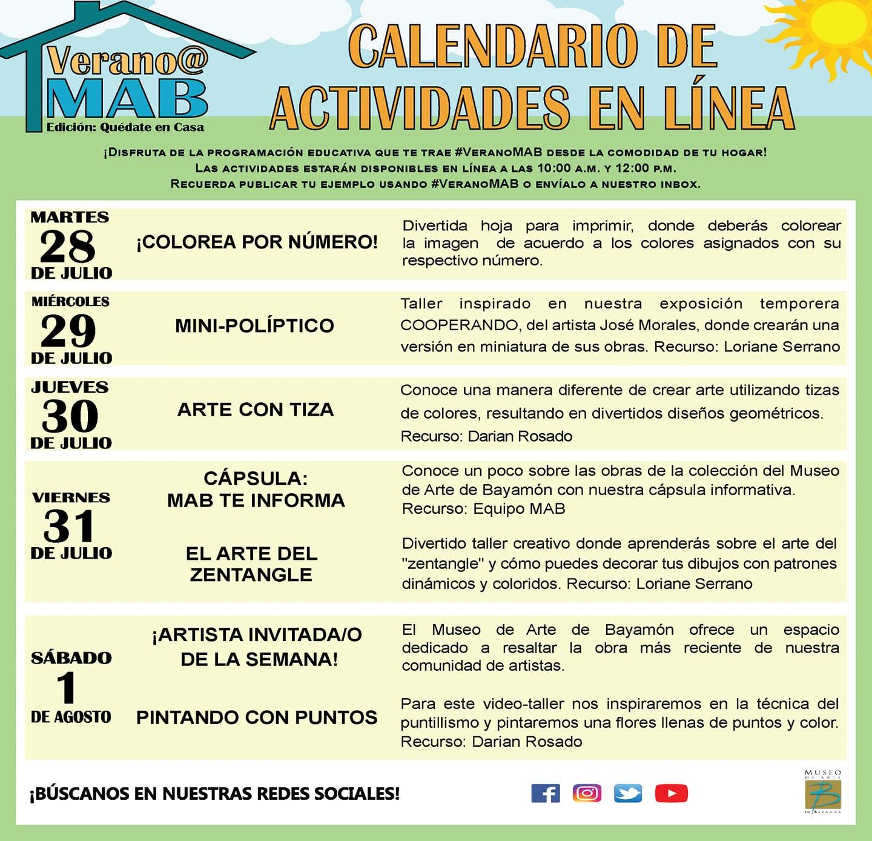 MAB en Casa: Talleres En Línea del 28 de julio al 1 de agosto