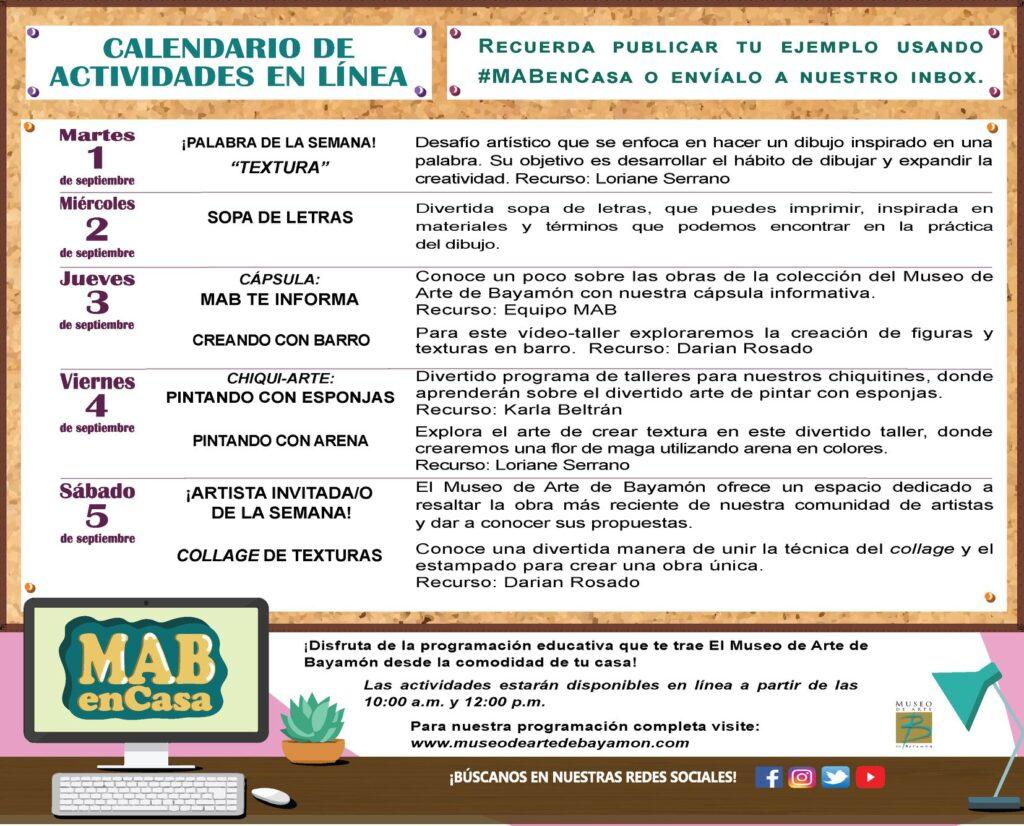 MAB en Casa: Talleres En Línea del 2 al 5 de septiembre