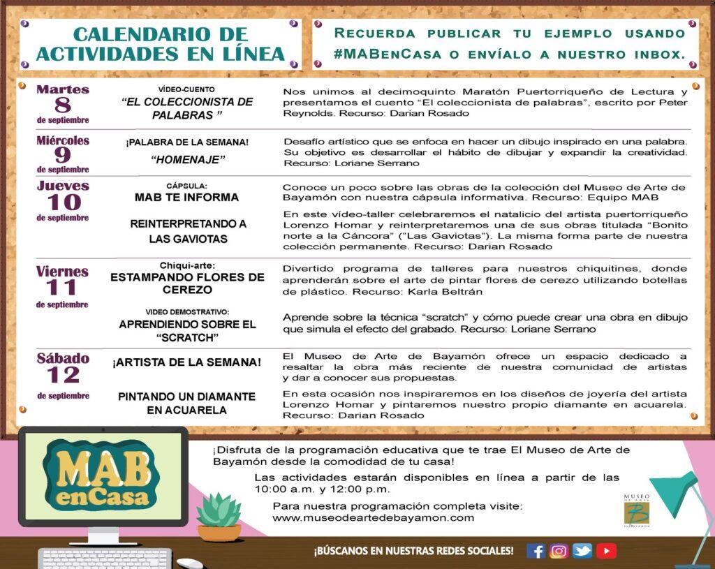 MAB en Casa: Talleres En Línea del 8 al 12 de septiembre