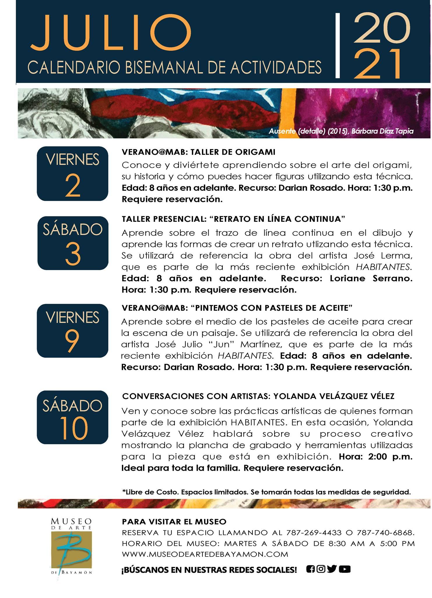 Calendario de Actividades para Primera Bisemana de Julio