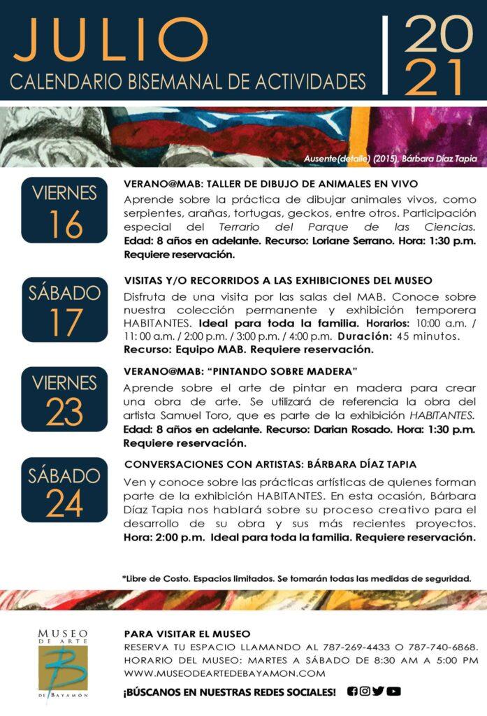 Calendario de Actividades para Segunda Bisemana de Julio