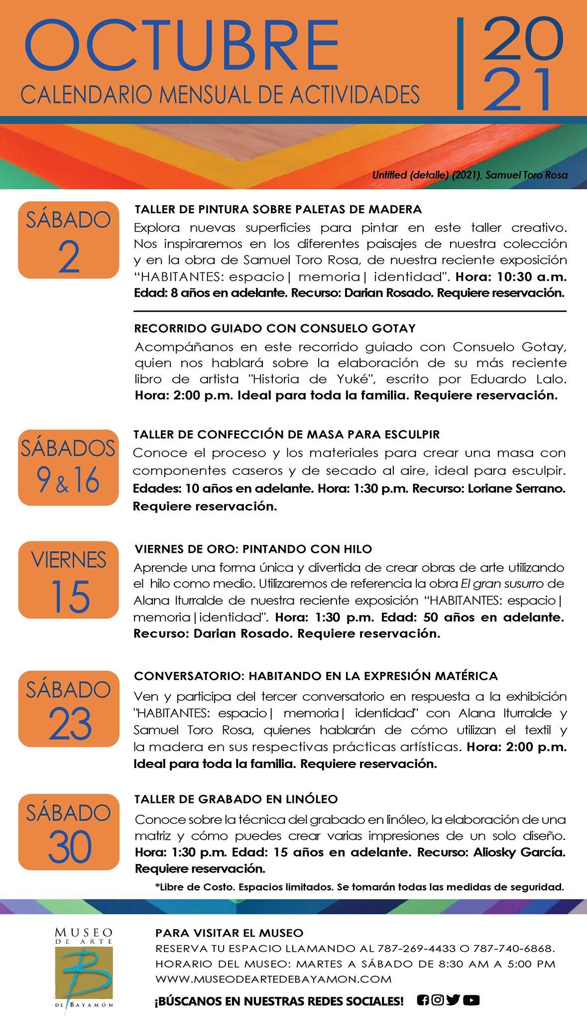 Calendario de Actividades para el Mes de Octubre